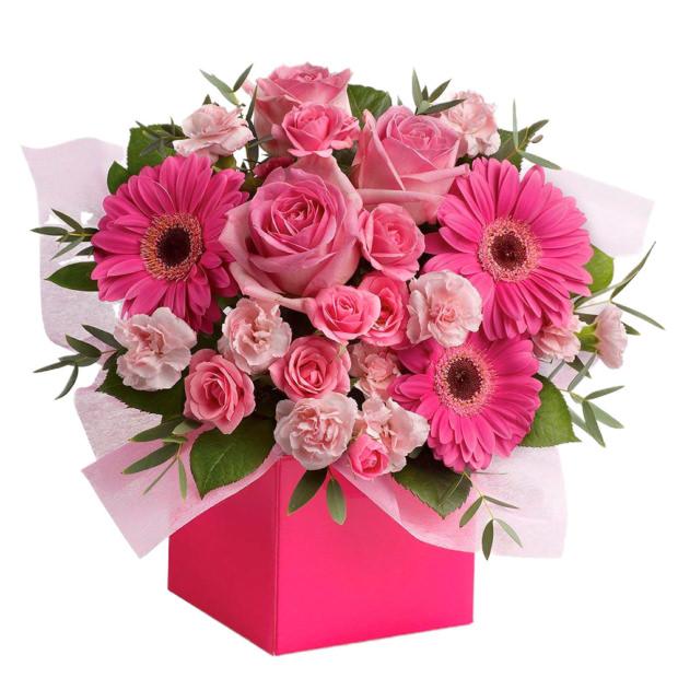 """Цветы в коробке """"Розовый микс"""""""